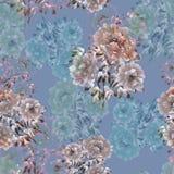 牡丹米黄和蓝色花的无缝的样式在深刻的蓝色背景的 背景细部图花卉向量 水彩 皇族释放例证