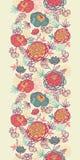 牡丹花和叶子垂直的无缝的样式 免版税库存照片
