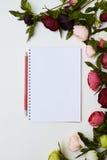 牡丹围拢的笔记本 库存图片