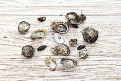 牡蛎海鲜新淡菜亚洲木头背景 库存照片