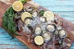 牡蛎海鲜柠檬莳萝新鲜的淡菜亚洲开胃菜 图库摄影