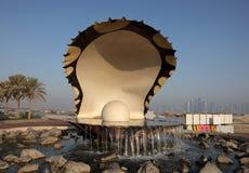 牡蛎珍珠喷泉在多哈 免版税库存图片