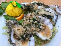 牡蛎蒸用葱和柠檬 库存图片
