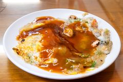 牡蛎omele,台湾纤巧台湾特别传统快餐  库存照片