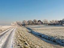 牧场地在冬天 库存图片