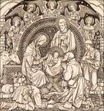 牧羊人designet的Anoration石版印刷由未知的艺术家的1889 库存照片