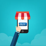 购物与机动性的五颜六色的象 事务的背景和 免版税库存图片