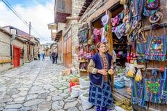 购物与纪念品和茶, Lahich,阿塞拜疆 库存图片