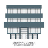 购物中心大厦,房地产签到平的样式 也corel凹道例证向量 库存照片