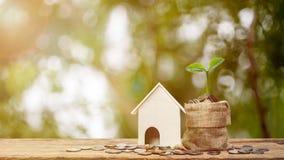 物产投资或攒钱新的家庭概念的 在堆的植物生长在金钱袋子的硬币与一个小屋模型 库存照片
