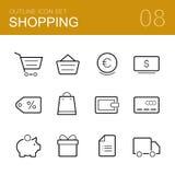 购物传染媒介概述象集合 免版税库存图片