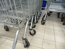 购物台车轮子的细节 免版税库存图片