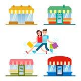 购物在商店餐馆和商店门面的套的前面的人们 库存图片