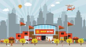 购物在城市 库存例证