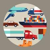 货物在平的设计的货运背景 免版税库存图片