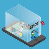 购物在网上在手机 库存图片