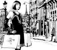 购物在巴黎的妇女 库存图片