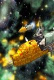 货物太空飞船和星云 免版税库存图片