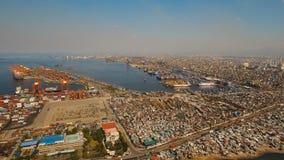 货物工业口岸鸟瞰图 马尼拉菲律宾 股票录像