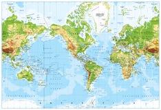 物理世界地图被集中的美国和深测术 免版税图库摄影