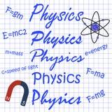 物理用不同的手写,在笔记本板料的惯例 免版税库存照片