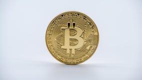 物理金属金黄Bitcoin货币,白色背景 Cryptocurrency 免版税库存图片