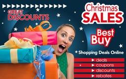 购物的抽象飞行物在圣诞节贸易 免版税库存照片