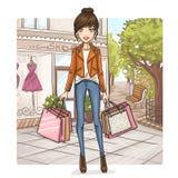 购物的时尚女孩 免版税库存图片