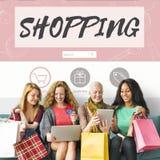 购物的网上消费者至上主义连接销售概念 库存图片