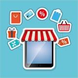 购物的网上设计,传染媒介例证,传染媒介例证 图库摄影