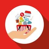 购物的网上设计,传染媒介例证,传染媒介例证 免版税库存图片
