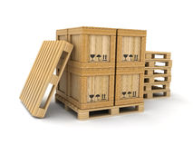 货物箱子和板台 免版税库存图片