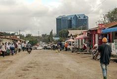 购物街道在阿鲁沙 免版税图库摄影
