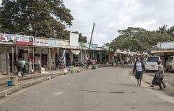 购物街道在阿鲁沙 免版税库存图片