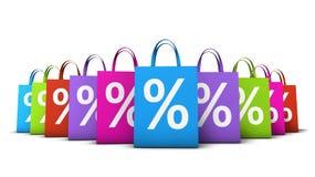 购物袋五颜六色的折扣 免版税库存照片