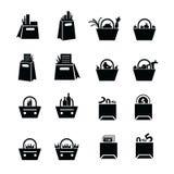 购物袋设置了与饮料、食物和状态象 免版税图库摄影