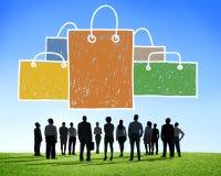 购物袋销售资本主义Shopaholic概念 库存照片