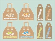 购物袋,标签汇集 白色,橙色,绿色,蓝色山和树 免版税库存图片