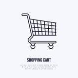 购物车传染媒介平的线象 零售店供应,商业商店,超级市场设备标志 商业台车 免版税库存照片