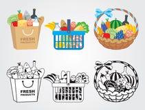 购物车充满食物 免版税库存照片