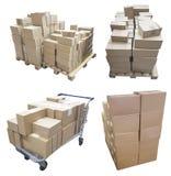 购物车和箱子 免版税库存图片