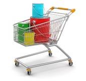购物车和罐头油漆(包括的裁减路线) 免版税库存照片