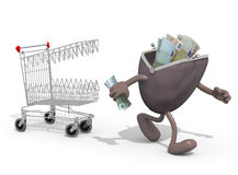 购物车尖酸的储款钱包 免版税库存照片