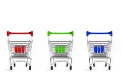 购物车查出的购物的白色 库存照片