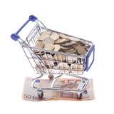 购物车欧洲在白色隔绝的纸币和欧洲硬币 免版税图库摄影