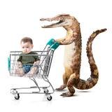 购物车的小亚裔男孩有鳄鱼的 库存图片