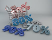 购物车,折扣,销售,超级市场促进 免版税库存照片