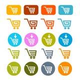 购物车,篮子,网标志,被设置的象 向量例证