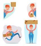 货物货物箱子装货交付发货装载者送货员字符象动画片设计模板传染媒介 向量例证