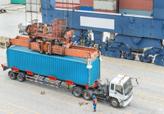 货物货物船运转的起重机灌油桥台在造船厂 库存图片
